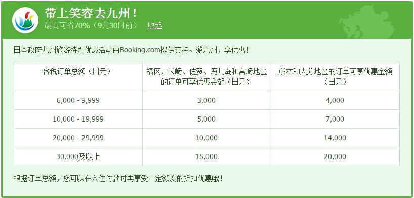Booking.com推出预订日本九州酒店3折折扣优惠活动-带上笑容去九州