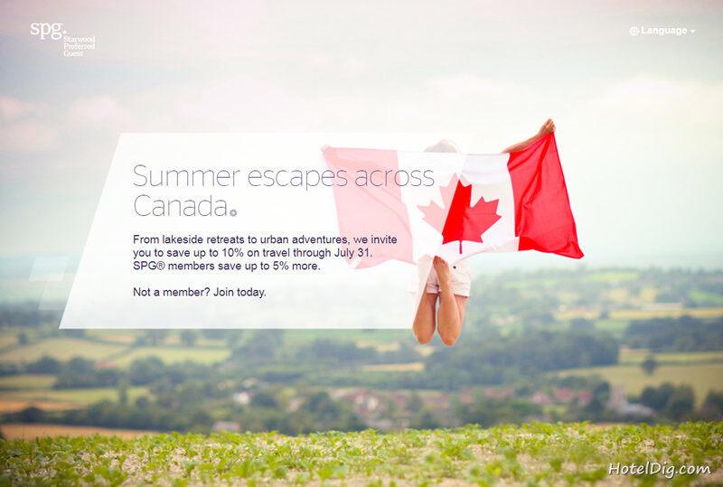 Starwood喜达屋优惠活动:SPG加拿大Summer Escapes,订房享85折优惠(2018/7/31前)