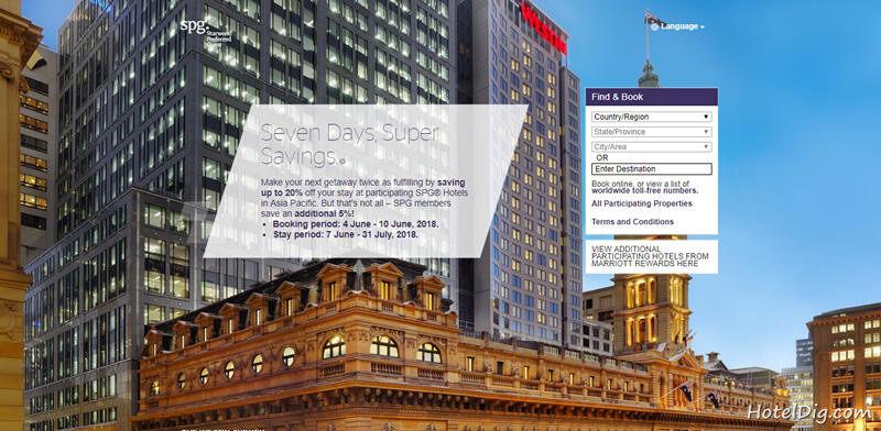 Starwood喜达屋优惠活动:SPG亚太区酒店7天闪促,订房享低至75折优惠(2018/6/10前)