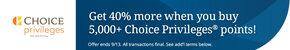 Choice Hotels买分促销:购买Choice Privileges积分享最高40%奖励(2018-9-13前)