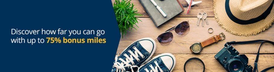 美聯航里程促銷:通過官網購買UA里程享額外最高75%獎勵(2019-7-12前)