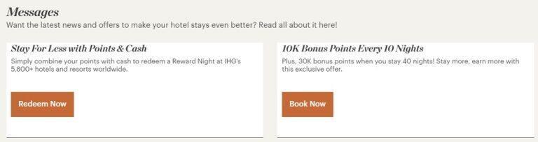 IHG隱藏里程碑獎勵活動,每住10晚獎勵1萬點數,40晚獎勵3萬點數